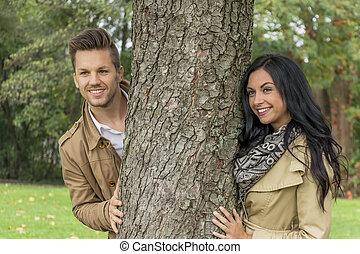 árvore, par, amor, atrás de