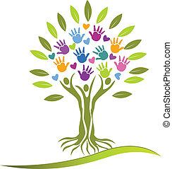 árvore, pessoas, mãos, e, corações, logotipo