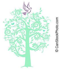 árvore, pomba