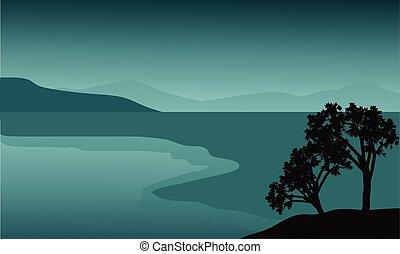 árvore, praia, silueta