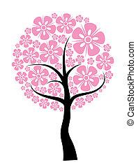 árvore, primavera, fundo, vetorial