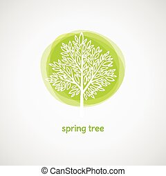 árvore., primavera, vetorial, ilustração