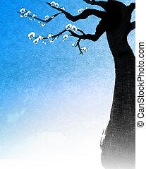 árvore, quadro, chinês