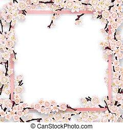 árvore, quadro, ramos, overgrown, sakura