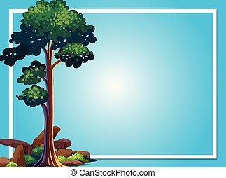 árvore, quadro, verde, modelo