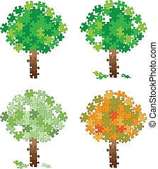 árvore, quebra-cabeça, jogo