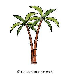 árvore, rabisco, isolado, palmas