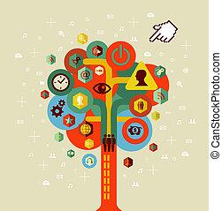 árvore, rede, coloridos, social