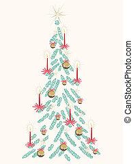 árvore, retro, cartão, natal