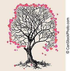 árvore, símbolo, ame corações