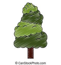 árvore, símbolo, rabisco, natureza
