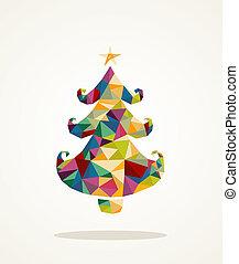 árvore, saudação, pinho, contemporâneo, feliz natal, cartão