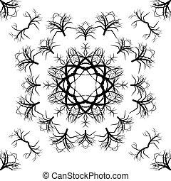 árvore, seamless, textura, vetorial, fundo, branca