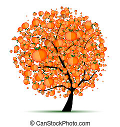 árvore, seu, desenho, cítrico, energia