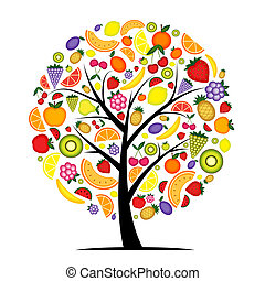 árvore, seu, fruta, desenho, energia