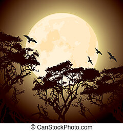 árvore, silhuetas, ramos, lua