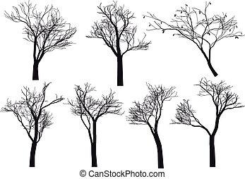 árvore, silhuetas, vetorial