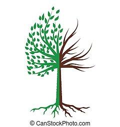 árvore, silueta, ícone