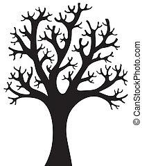 árvore, silueta, 4, dado forma