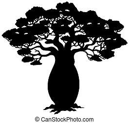 árvore, silueta, africano