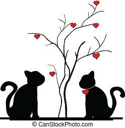 árvore, silueta, amor, gato
