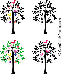 árvore, silueta, branco, fundo
