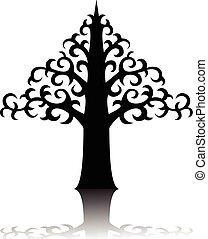 árvore, silueta