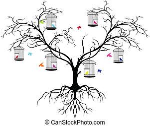 árvore, silueta, com, cor, pássaros