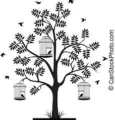 árvore, silueta, com, pássaros voando