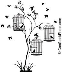 árvore, silueta, com, vôo pássaro