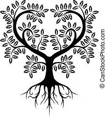 árvore, silueta, isolado