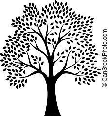 árvore, silueta, isolado, w, pretas