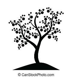 árvore, silueta, maçã