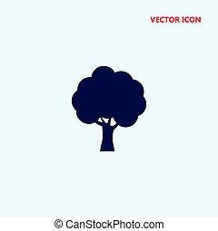 árvore, silueta, vetorial, ícone