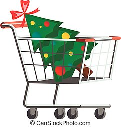árvore, supermercado, carreta, natal