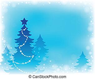 árvore, tema, 2, silueta, natal
