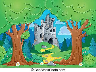 árvore, tema, com, castelo, ruínas