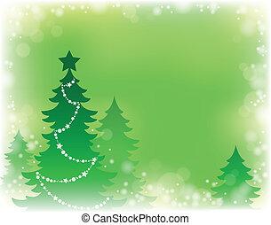árvore, tema, silueta, natal, 3