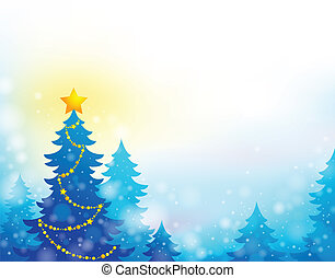 árvore, tema, silueta, natal, 6