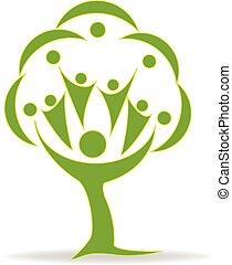 árvore, trabalho equipe, pessoas, logotipo