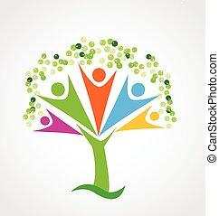 árvore, trabalho equipe, união, logotipo