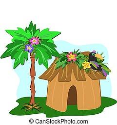árvore tropical, palma, tucano, cabana