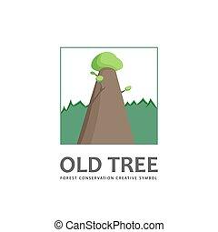 árvore velha, template., logotipo