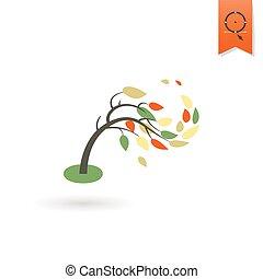 árvore, vento