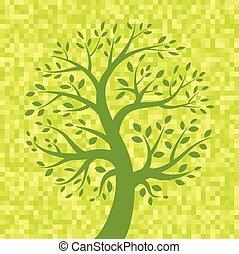 árvore, verde amarelo, fundo, pixel, ícone