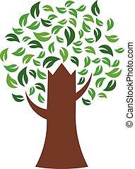 árvore verde, ambiental, vetorial, logotipo
