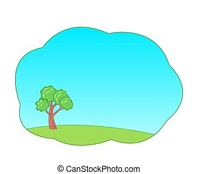 árvore verde, azul, caricatura, fundo, sky., verão