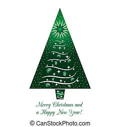 árvore verde, cartão natal, saudação