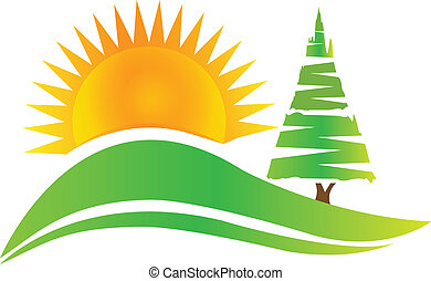 árvore verde, -hills, e, sol, logotipo