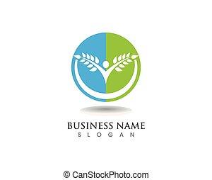 árvore, verde, pessoas, cartão identidade, vetorial, logotipo